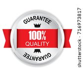 100  quality silver badge with... | Shutterstock .eps vector #716973817