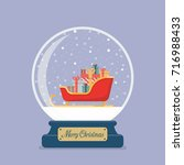 merry christmas glass ball with ... | Shutterstock .eps vector #716988433