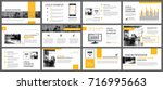 Yellow and white element for slide infographic on background. Presentation template. Use for business annual report, flyer, corporate marketing, leaflet, advertising, brochure, modern style. | Shutterstock vector #716995663