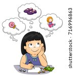 illustration of a kid girl... | Shutterstock .eps vector #716996863