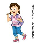 illustration of a kid girl... | Shutterstock .eps vector #716996983