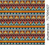 Tribal seamless pattern. African print. Colorful abstract background. Hand drawn vector illustration EPS 10. | Shutterstock vector #717004327