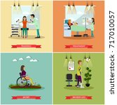 set of disabled people posters. ... | Shutterstock . vector #717010057