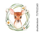 baby deer and flowers. hand... | Shutterstock . vector #717012163
