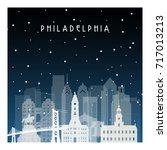 winter night in philadelphia....   Shutterstock .eps vector #717013213
