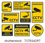 security camera signs  cctv... | Shutterstock .eps vector #717016297