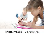 5 year old kids drawing and... | Shutterstock . vector #71701876