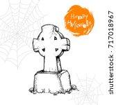 hand drawn christian cross... | Shutterstock .eps vector #717018967