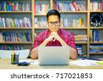 young asian business freelance...   Shutterstock . vector #717021853