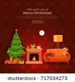 christmas fireplace room... | Shutterstock .eps vector #717034273