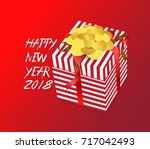 color vector gift box  bows and ... | Shutterstock .eps vector #717042493