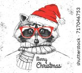christmas hipster fashion... | Shutterstock .eps vector #717046753
