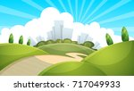 landscape  city cloud sun... | Shutterstock .eps vector #717049933