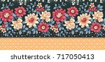seamless textile floral border | Shutterstock . vector #717050413