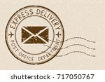 express delivery. brown grunge... | Shutterstock .eps vector #717050767
