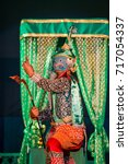 Small photo of Khon. Advanced performing arts culture traditonal drama dancing in masked literature Ramayana, Thailand. Named Tos-Sa-Kan is meant giant with ten necks.