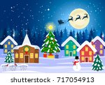 rural festive landscape with a... | Shutterstock .eps vector #717054913