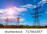 high voltage  power lines at... | Shutterstock . vector #717061057
