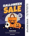 halloween sale poster. vector... | Shutterstock .eps vector #717070573