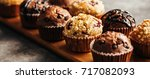 chocolate muffin with chocolate ...   Shutterstock . vector #717082093