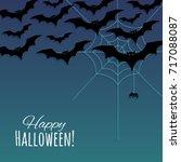 happy halloween background with ... | Shutterstock .eps vector #717088087
