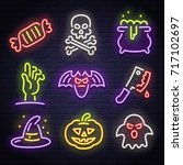 Big set icon neon sign. Happy Halloween. Neon sign, bright signboard, light banner.
