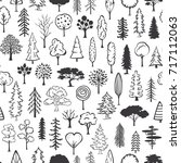black and white doodle trees