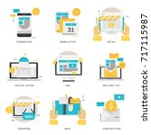 infographic flat icons... | Shutterstock .eps vector #717115987