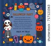 happy halloween day. cute... | Shutterstock .eps vector #717121063