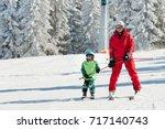 ski instructor learning little...   Shutterstock . vector #717140743