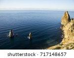 nature blue lagoon in mountain... | Shutterstock . vector #717148657