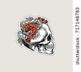 halloween floral vintage skull... | Shutterstock .eps vector #717148783