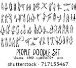 set of people doodle... | Shutterstock .eps vector #717155467