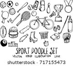 set of sport doodle... | Shutterstock .eps vector #717155473