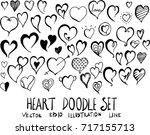 set of heart doodle...   Shutterstock .eps vector #717155713