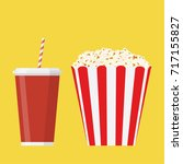 bowl full of popcorn and paper...   Shutterstock . vector #717155827