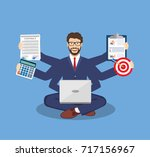 businessman with multitasking... | Shutterstock . vector #717156967
