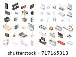 furniture for an apartment.... | Shutterstock . vector #717165313