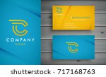 c letter logo design with... | Shutterstock .eps vector #717168763