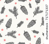 winter seamless pattern with... | Shutterstock .eps vector #717171337
