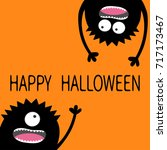 happy halloween. two black... | Shutterstock . vector #717173467