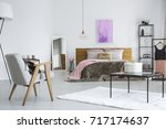 double bed with fur blanket and ... | Shutterstock . vector #717174637