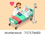 senior patient in hospital bed. ... | Shutterstock .eps vector #717176683