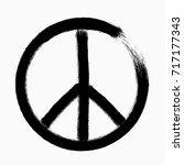 peace symbol  hand drawn brush  ... | Shutterstock .eps vector #717177343