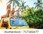 group of russian tourist girls... | Shutterstock . vector #717182677