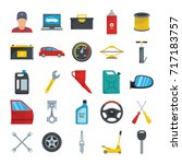auto service with tools and car ... | Shutterstock .eps vector #717183757