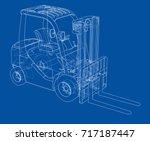 forklift concept. vector... | Shutterstock .eps vector #717187447