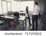 puzzled business people... | Shutterstock . vector #717192823