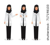 arab doctor occupation friendly ... | Shutterstock .eps vector #717198103