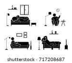 stick figure resting at home... | Shutterstock . vector #717208687